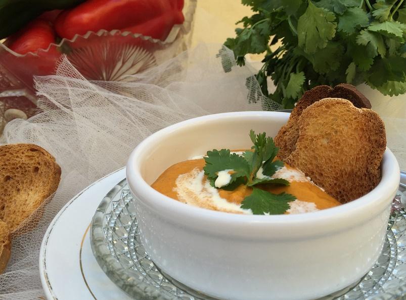Más delicias de México: sopa crema de pimientos ahumados