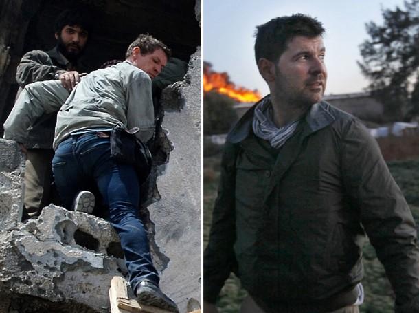 Díptico que muestra a Tim Hetherington (I) subiendo a las ruinas de un edificio en Misrata, el 20 de abril, y a Hondros caminando en la misma ciudad el 18 de abril (AFP).