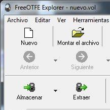 Los controles de FreeOTFE Explorer: Nuevo, Montar, Almacenar y Extraer