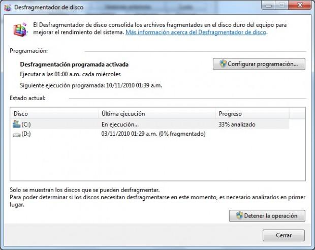 Interfaz del Defrag de Windows 7