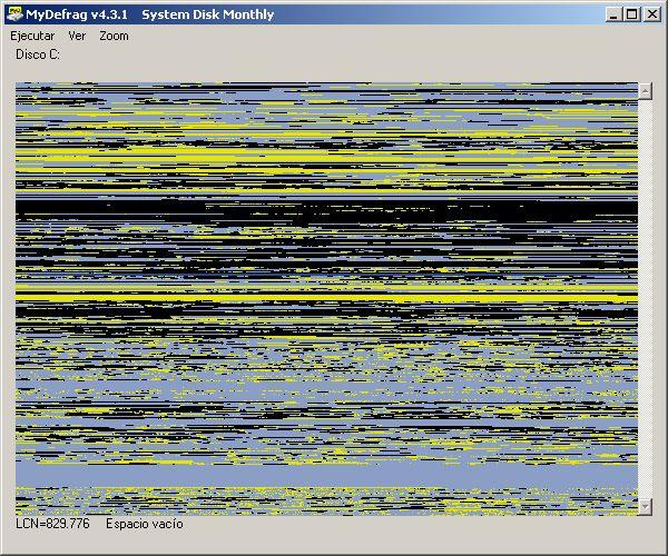 Un disco extremadamente fragmentado. La máquina ya exhibe síntomas serios al abrir programas
