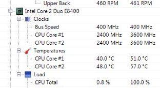 Temperaturas de los núcleos del CPU con Open Hardware Monitor