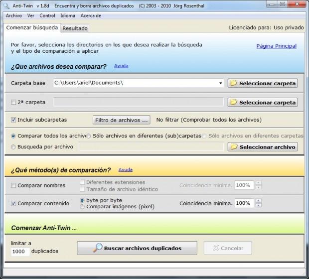 Configuración de la búsqueda en AntiTwin