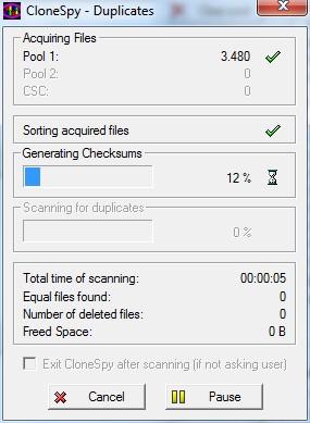 Proceso de detección de duplicados de CloneSpy