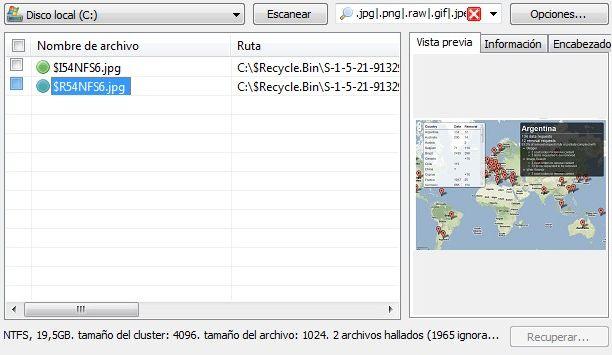 Cos archivos que se pueden recuperar en Recuva; en el caso de las imágenes hay una vista previa