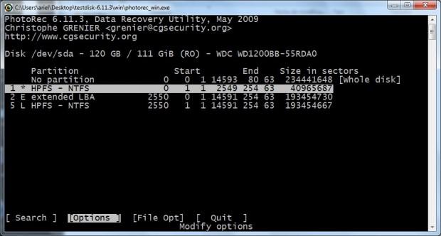 La interfaz basada en caracteres de TestDisk
