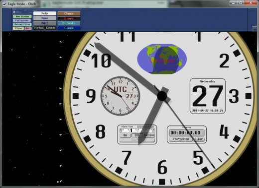 Reloj con alarma, fecha y mapa solar