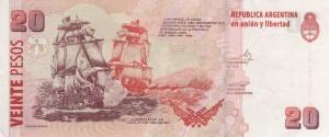 Combate de la Vuelta de Obligado en los billetes de 20 pesos.